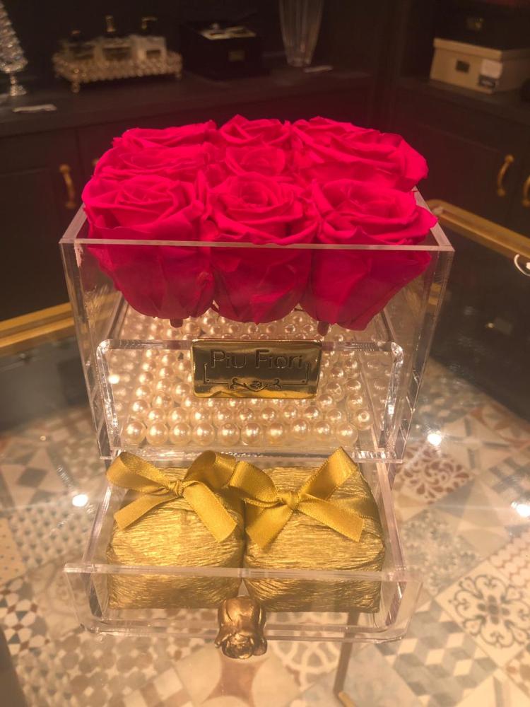 Caixa luxo acrílico com 9 Rosas Mágicas